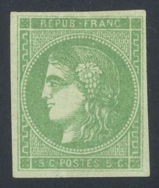 France 1870 - Cérès type - 5c. - green-yellow - Signed A. Brun - Yvert no.42B.