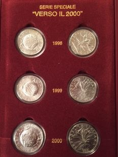 """Republic of Italy - Slipcase - """"Verso il 2000"""" (""""Towards 2000"""") special series (6 coins) - Silver"""