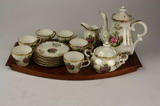 Graceful coffee set for 6 people with wooden serving tray