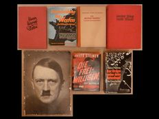 WW II; Lot of 6 illustrated volumes and 1 large format booklet on Adolf Hitler - 1939/1989