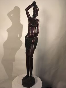 Female figurine made from carved ebony, African sculpture