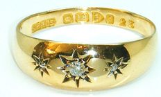 Ring 18K Yellow Gold Old Mine Cut Diamond's,- 3 Diamonds 0.35 CT SI2K **** NO RESERVE PRICE ***