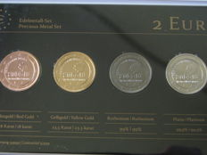 Belgium - Precious Metal Set - 2 Euro '100th Anniversary of the Outbreak of the First World War' 2014 (4 different coins)