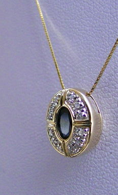 Sapphire diamond pendant - slide with chain 585 gold