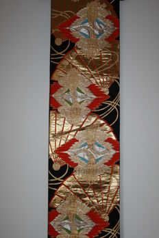 Silk fukuro Obi Cranes – Japan - first half of the 20th century