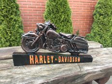 Large HARLEY DAVIDSON motorcycle carved, convex handmade and painted advertising iron sign - 80'