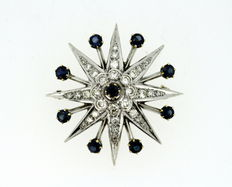 Antique 18K White Gold Star Brooch / Pendant With Diamonds (1.2 CT Total) and Blue Sapphire ( 0.90 CT Total ), 1920's