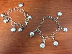 Bracelet/anklet x 2 – with charms – silver – hand-crafted