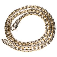 Bi-colour gold Venetian link necklace