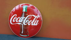 Convex and round enamel sign for Coca Cola - 2nd half 20th century