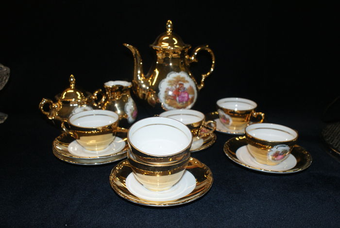 15 piece Mocha crockery 22 k gold plated Bavaria Waldershof porcelain. : bavaria gold plated tea set - pezcame.com