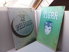 Sheet of metal for Peliforth and Tigra advertising sign - 1990