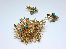 Set with gold brooch and earrings