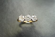 3.00ct Trilogy Diamond Ring , H/I, I1, Ring size: N (EU 53)