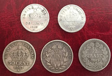 France - 20 & 50 Centimes 1842/1867 (lot of 5 coins) - Silver