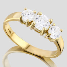 14KT gold engagement ring set with 3 created moissanites