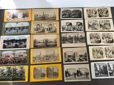 25 Stereograph cards - early 1900s - including the Netherlands, Belgium and other countries.