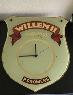 Old glass advertising clock Willem II Sigars.