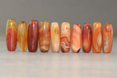 Lot 10 agate prayer beads - Asia - 21st century
