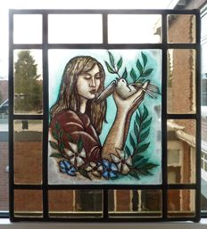 Very beautiful stained glass window with original stained glass image, restored