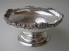 223. Antique and Large Silver Plated Centrepiece with richly decorated rim, Harts The Silversmith, Sheffield