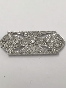 Broche en or et platine diamants totalisent 2.10 ct Top Wesselton