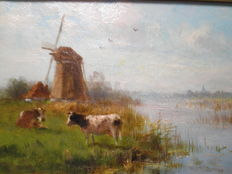 Cornelis Westerbeek Jr.  (1844-1903)-cows in pasture landscape