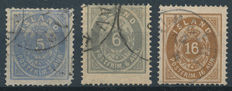 Iceland 1876 – Number with crown – Michel 6 A, 7 A and 9 A