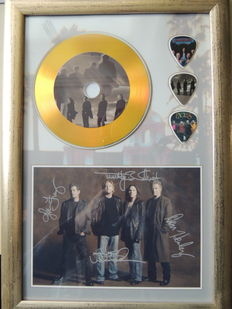 The Eagles Beautiful Signed (in print) Picture Framed Plated Gold Disc Framed