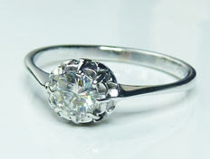 18 kt white gold ring with diamond 0.32 ct Top Wesselton
