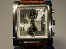 """pulsar men's """"square"""" alarm-chronograph with date  7T62-X095---R2"""
