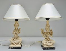 Pair of Asian deity table lamps on marble base