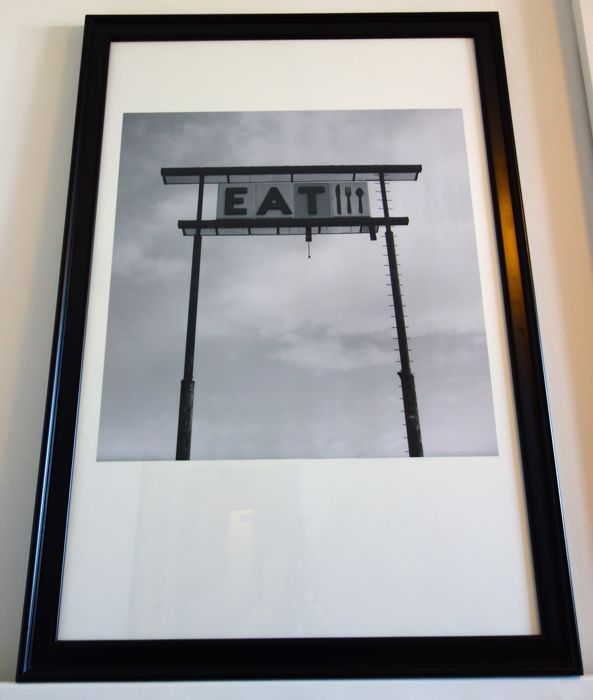 Framed enlarged black&white picture of an American diner sign USA ...