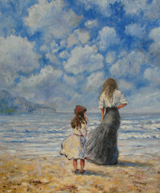 Daniel Courbois ( 1955-) Mother and daughter on the beach.