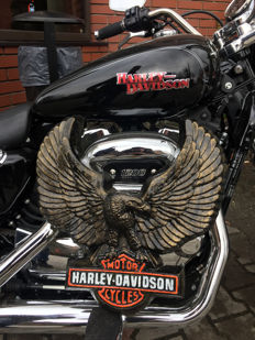 Large HARLEY DAVIDSON eagle  - carved, convex handmade and painted advertising iron sign - 80s