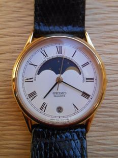 "Seiko Quartz 7434-7000 ""Moonphase"" – Men's wristwatch – 1980"