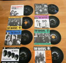The Beatles: Lot Of  Eight (8) Very Collectable  and Wanted Dutch Singles in Original Photocovers from the early 60s In VG++/ Excellent/Near Mint Condition.