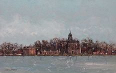 Ciano Siewert (1942-)-city scape of Ouderkerk a/d Amstel