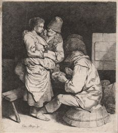 Cornelis Bega (1620-1664) - Three peasants and a young hostess in an inn - Ca. 1640