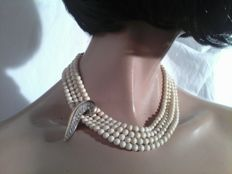 Pierre Cardin - vintage four string imitation ivory bead necklace