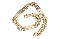 Bi-colour gold link bracelet in 14 kt.