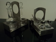 Set of salt, pepper, toothpicks, cheese bowl, oil, vinegar in crystal and stainless steel