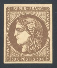 France 1870 - Ceres type - 30c - Signed Brun - Yvert no. 47