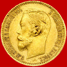 Russia, 1900 – 5 Roubles – Gold.
