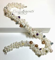 EnzoArgenti - necklace - pearls- gemstones - new - 46 cm - 925 silver lock