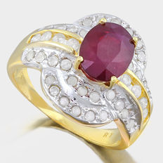 Estate 14 kt heavy gold ring set with african ruby, 3.03ct in total and 42 diamonds ***No reserve price***