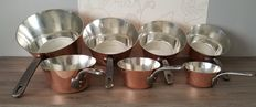 Set of 7 solid tinned copper pans, the seven saucepans are all stamped. Special Series Villedieu, thickness 3 mm, professional copper, thick copper and very heavy 6.6 kg in all.