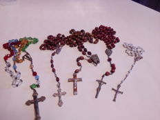 Big batch of rosaries, crosses and medals