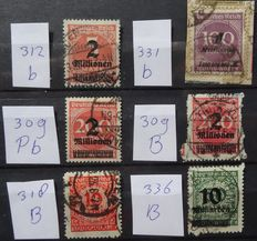 German Empire 1920/1923 - Infla-inspected variations - Michel 309, 312, 318, 331 and 336