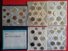 Republic of Italy - 1980 - 5 divisional coins with silver - 81 - 83 - 84 - 85